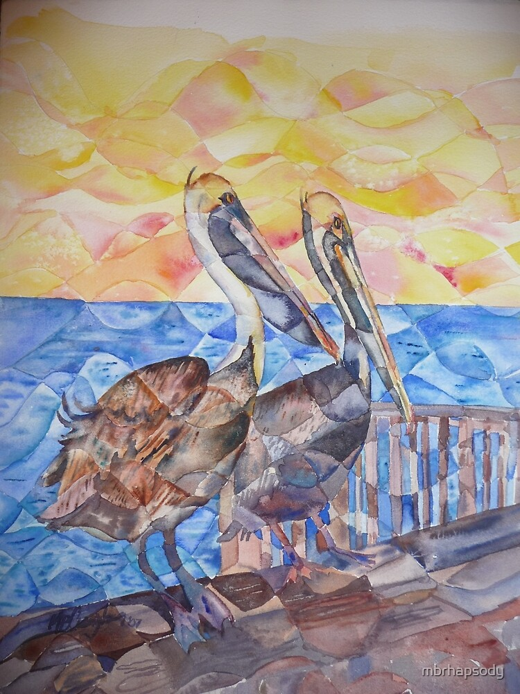 Pelicans Watercolor by Marybeth Cunningham