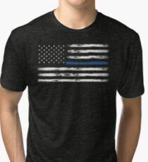 Blue Line (White) Tri-blend T-Shirt
