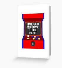 Paused Video Game Retro Greeting Card