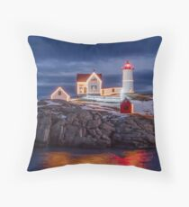 Nubble Lighthouse Christmas Lights Throw Pillow