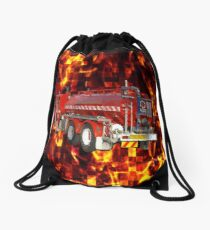 Fire Engine Polygon On Fire Mosaic Background, Drawstring Bag