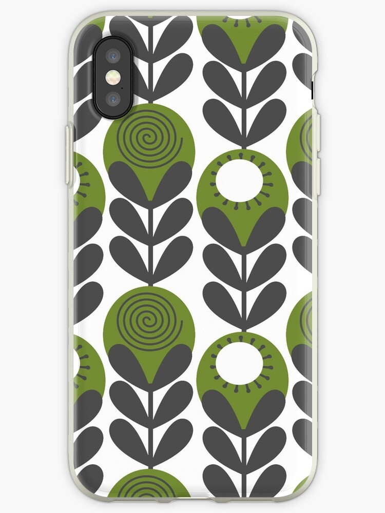 Green blooms in a Row modern floral by scribblingclub