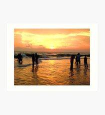 People watching Sunset Art Print