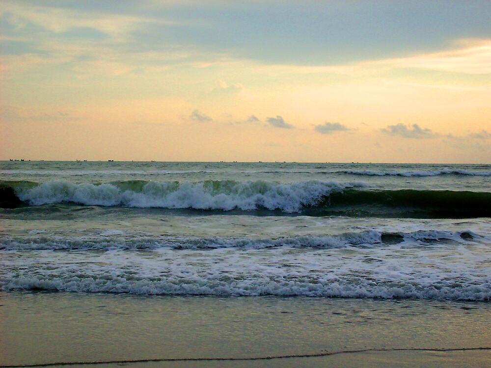 Waves hitting the Seabeach by shampadmomin
