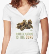 Mother Nature is the Cure Women's Fitted V-Neck T-Shirt