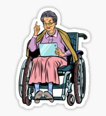 elderly woman disabled person in a wheelchair Sticker