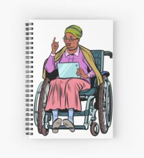 African elderly woman disabled person in a wheelchair Spiral Notebook