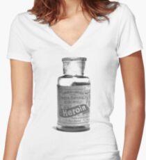 Bayer Heroin Bottle Women's Fitted V-Neck T-Shirt