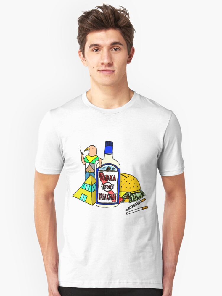 Vodka for breakfast by RADIOBOY Unisex T-Shirt Front