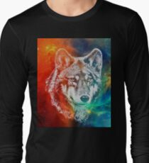 Wolf face with magic background Long Sleeve T-Shirt
