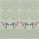 Metal Flower and Orchids Design Fabric by Leonie Mac Lean