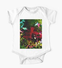 Red Flower with Aqua, Green and Pink Leaves Kids Clothes