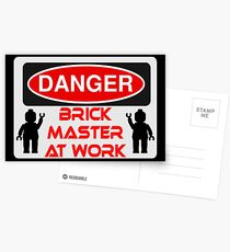 Danger Brick Master at Work Sign Postcards