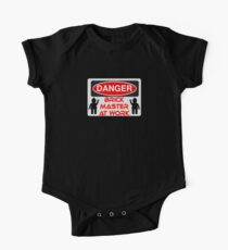 Danger Brick Master at Work Sign One Piece - Short Sleeve