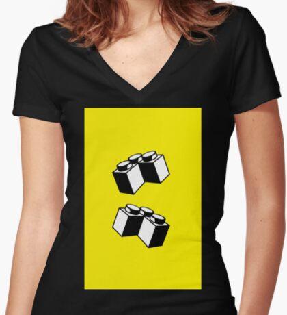 2 x 2 Brick Corner Women's Fitted V-Neck T-Shirt