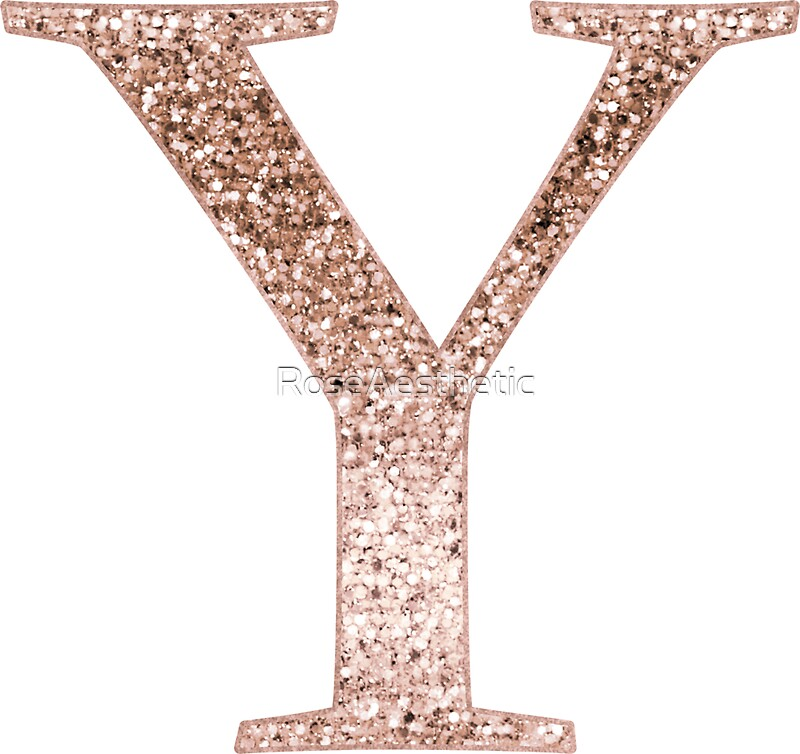 """""""Y rose gold glitter monogram letter"""" Stickers by RoseAesthetic 