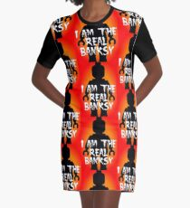 """Black Minifig with """"I am the Real Banksy"""" slogan, Customize My Minifig Graphic T-Shirt Dress"""