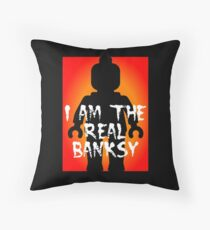"Black Minifig with ""I am the Real Banksy"" slogan, Customize My Minifig Throw Pillow"