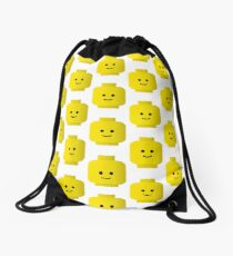 Smiley Minifig Head by Customize My Minifig Drawstring Bag