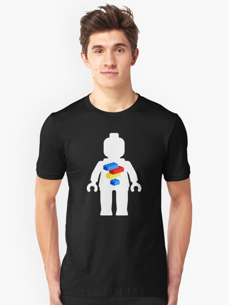 White Minifig with Bricks Logo by Customize My Minifig Unisex T-Shirt Front