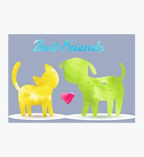 Cat and Dog Silhouettes  Photographic Print
