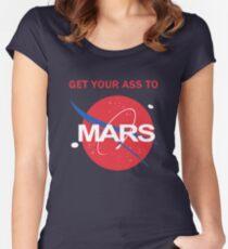 Camiseta entallada de cuello ancho Lleva tu culo a Marte