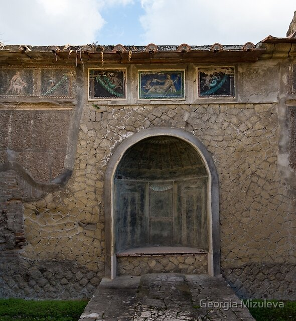 Herculaneum House - Elegant Arched Alcove and Mosaic Wall Art by Georgia Mizuleva