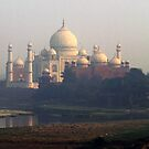 Taj Mahal appearing out of the haze by Bev Pascoe