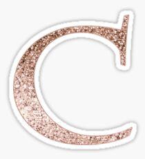 C rose gold glitter monogram letter Sticker