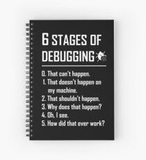 Six 6 Stages of Debugging Funny shirt for programmer, developer, coder Spiral Notebook
