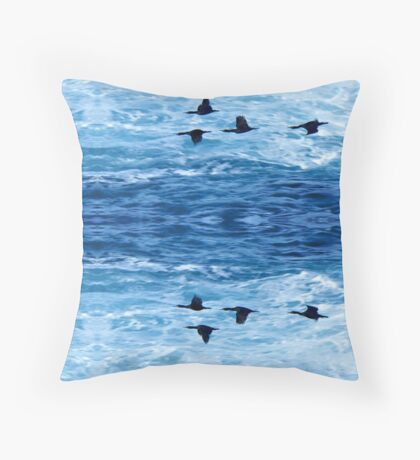 Cormorants  Skimming the Waves off Inishmore Floor Pillow