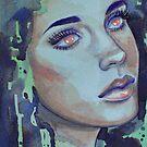 Dreamy Eyes Watercolour Portrait by Monica Maschke