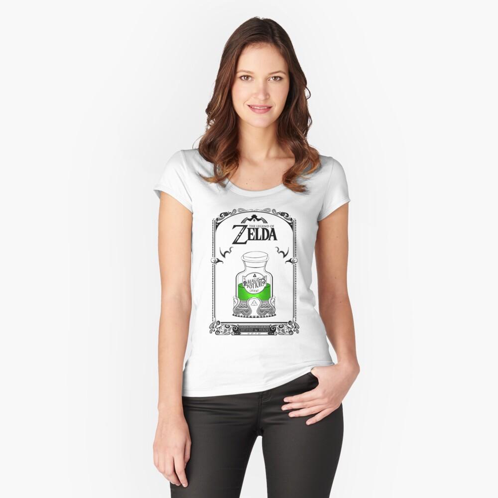 Leyenda de zelda - poción verde Camiseta entallada de cuello ancho