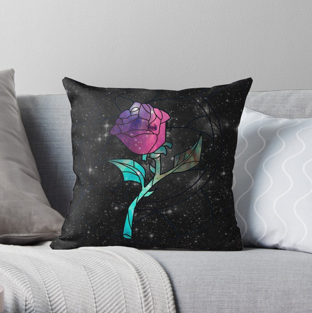 Stained Glass Rose Galaxy Throw Pillow