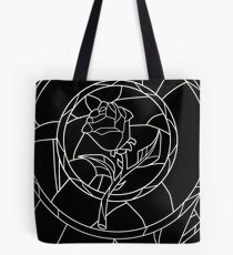 Stained Glass Rose Black Tote Bag
