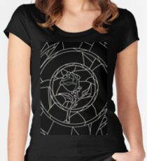 Stained Glass Rose Black Women's Fitted Scoop T-Shirt