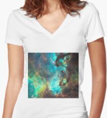 Green Galaxy Women's Fitted V-Neck T-Shirt