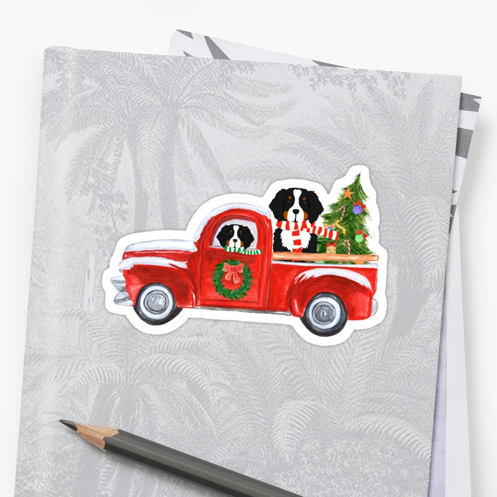 Christmas Bernese Mountain Dog Red Truck by emrdesigns