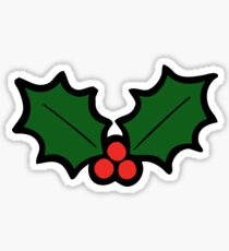 Holly Leaves and Berries Pattern in Light Green Sticker