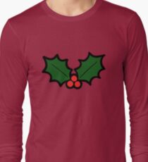 Holly Leaves and Berries Pattern in Light Green T-Shirt