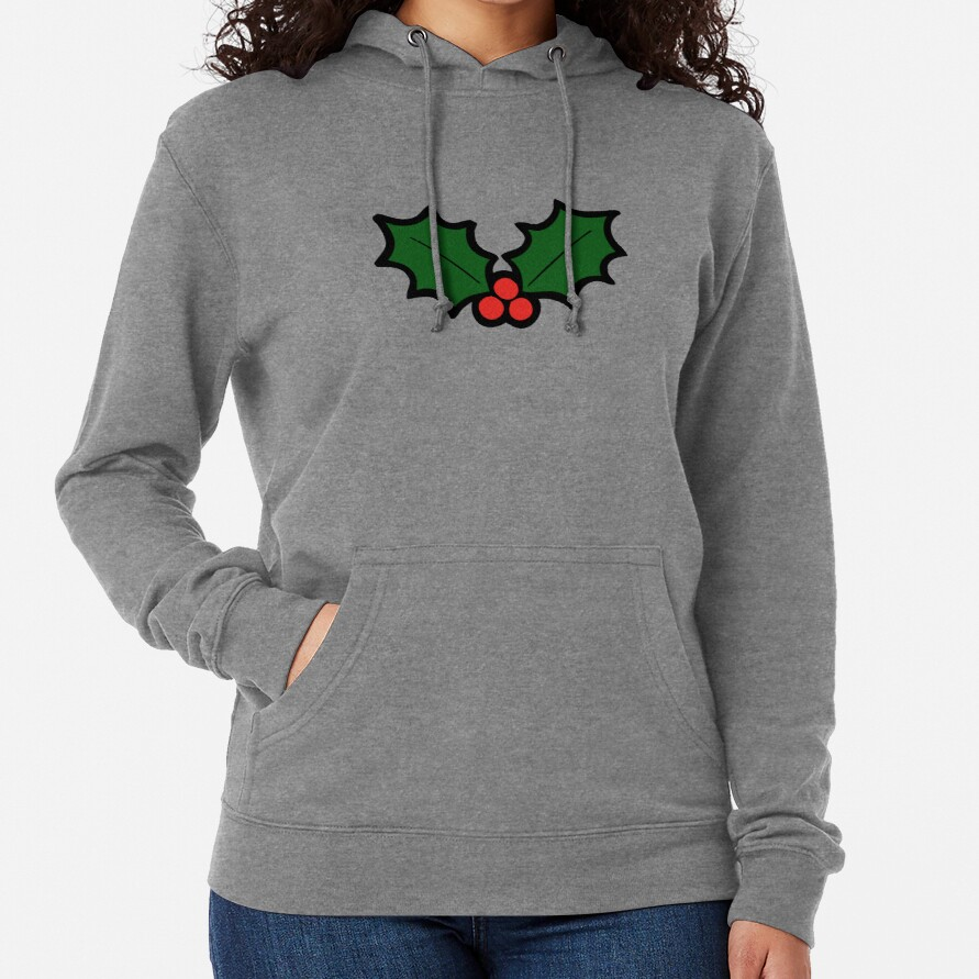 Holly Leaves and Berries Pattern in Light Green Lightweight Hoodie