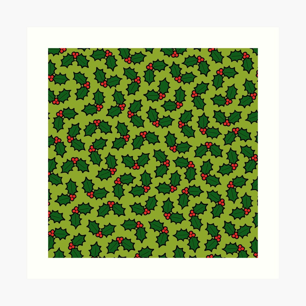 Holly Leaves and Berries Pattern in Light Green Art Print