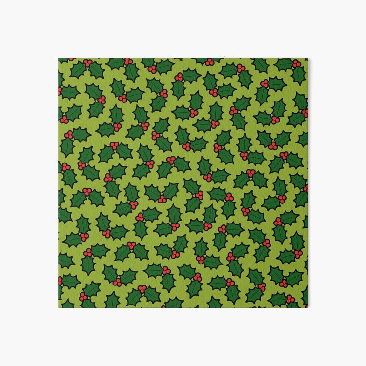 Holly Leaves and Berries Pattern in Light Green Art Board Print