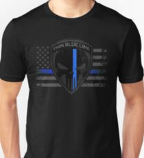 Dünnes blaues Linie Punisher-Flaggen-T-Shirt Slim Fit T-Shirt