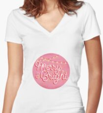 Merry & Bright Women's Fitted V-Neck T-Shirt