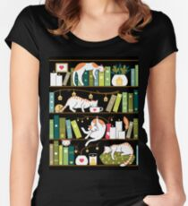 Library cats Women's Fitted Scoop T-Shirt