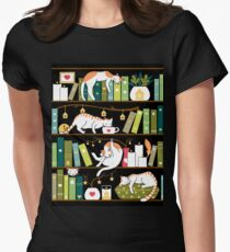 Library cats Women's Fitted T-Shirt