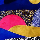 Terrazzo galaxy black blue yellow gold pink by Sylvain Combe