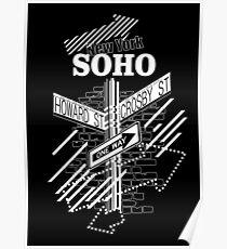 SoHo New York - White on Black Poster