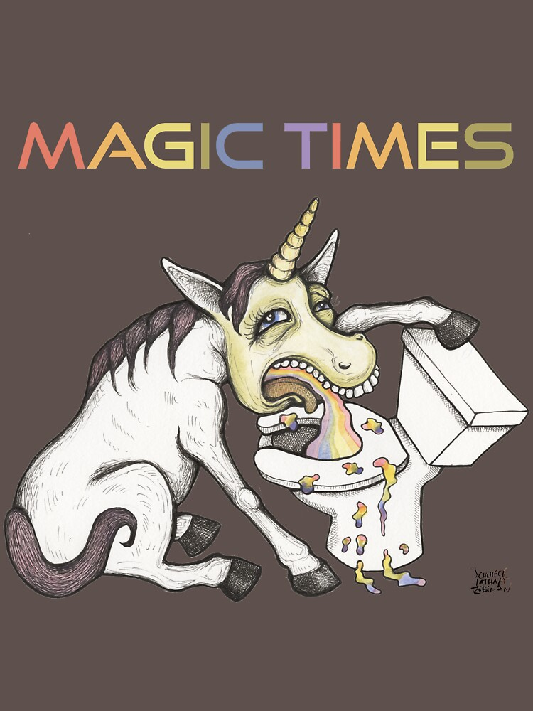 Unicorn Puking Rainbow into Toilet Shirt by Jennifer Latham Robinson - Ditch Frame by DitchFrame